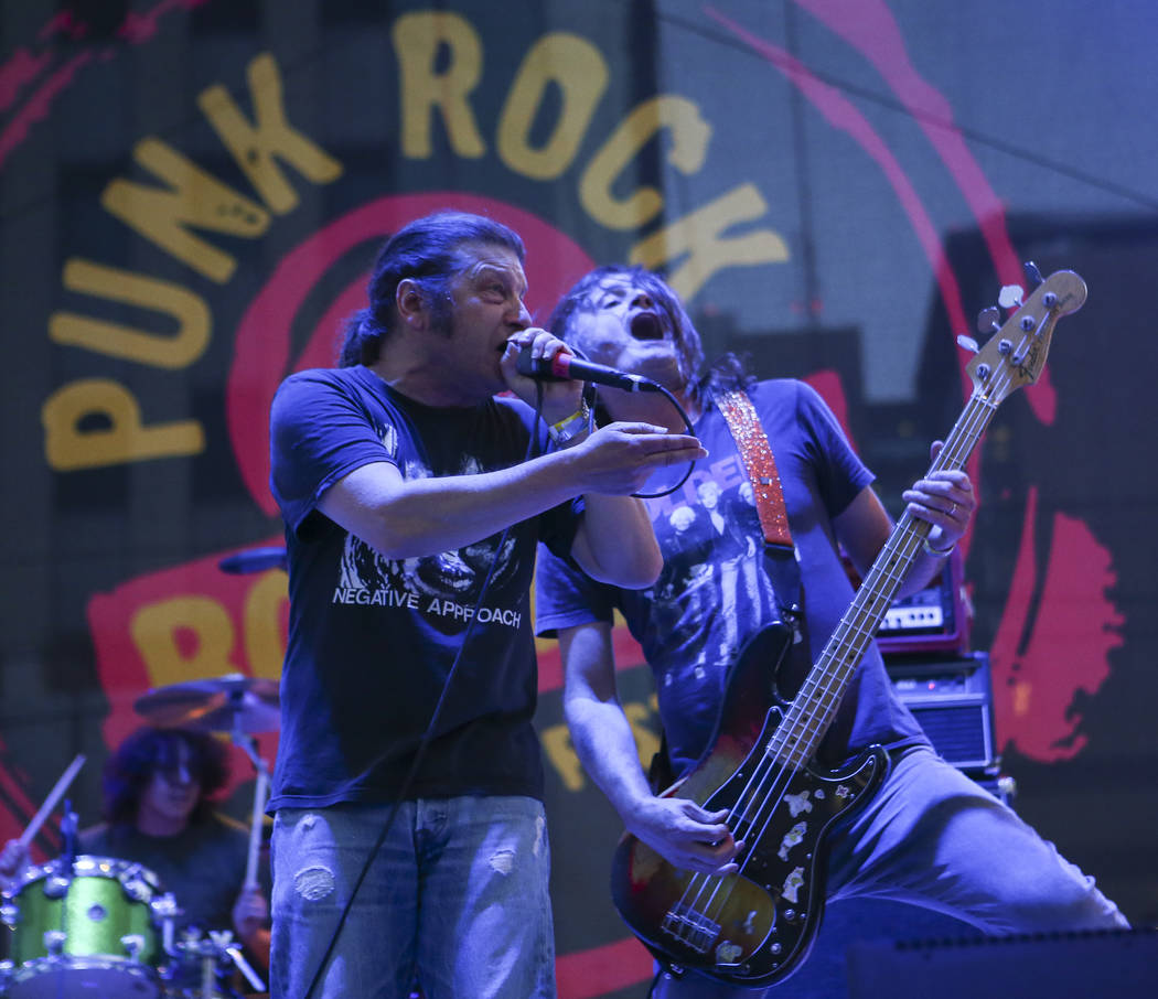 Keith Morris, left, and Steven McDonald of OFF! perform during Punk Rock Bowling at the Downtown Las Vegas Events Center on Saturday, May 27, 2017. Chase Stevens Las Vegas Review-Journal @cssteven ...