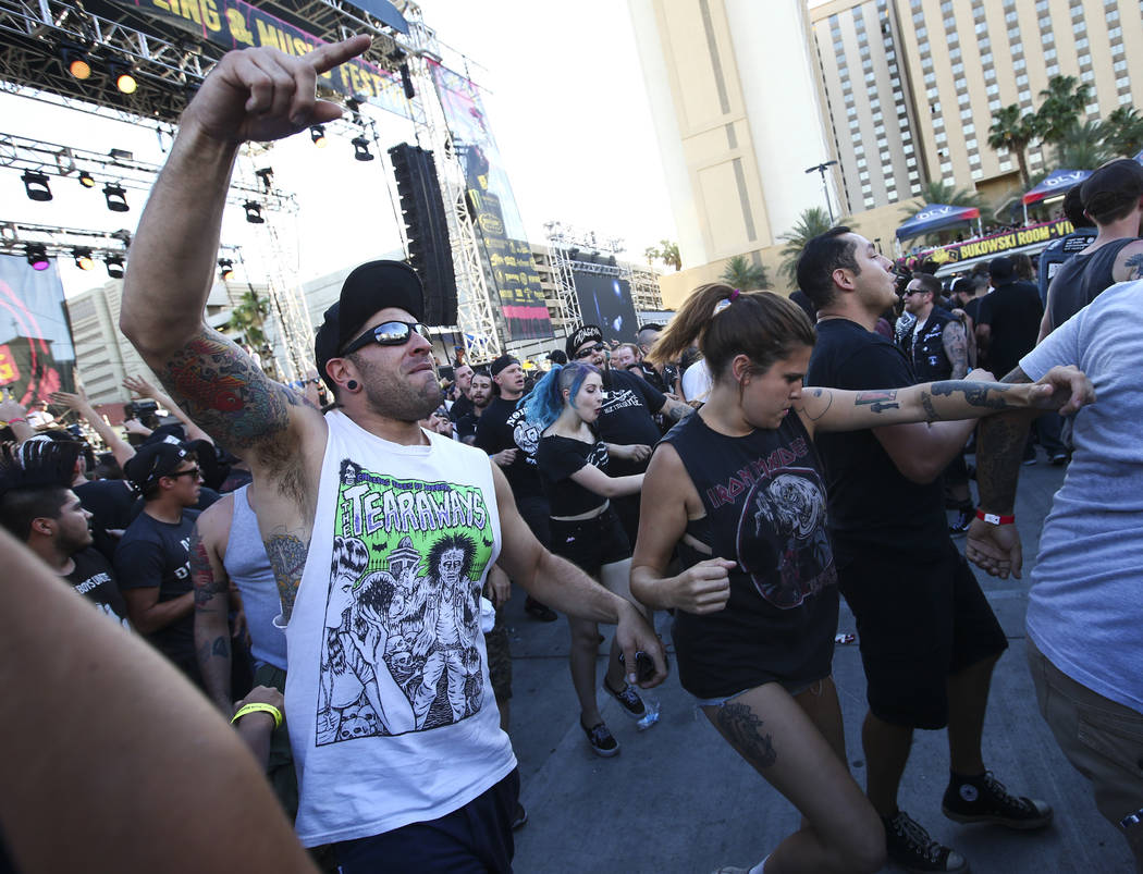 Fans in the mosh pit during Punk Rock Bowling at the Downtown Las Vegas Events Center on Saturday, May 27, 2017. Chase Stevens Las Vegas Review-Journal @csstevensphoto