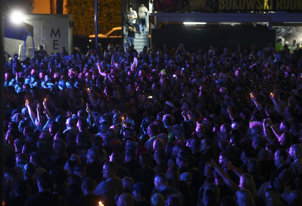 Fans watch Me First and the Gimme Gimmes perform during Punk Rock Bowling at the Downtown Las Vegas Events Center on Saturday, May 27, 2017. Chase Stevens Las Vegas Review-Journal @csstevensphoto
