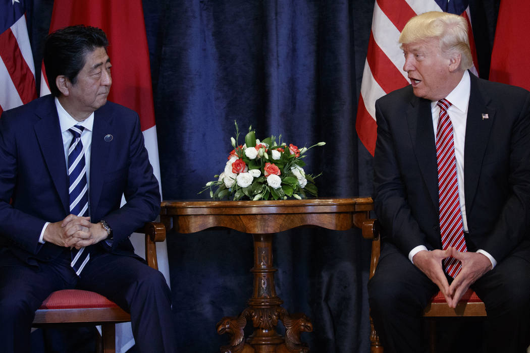 President Donald Trump meets with Japanese Prime Minister Shinzo Abe during the G7 Summit, Friday, May 26, 2017, in Taormina, Italy. (AP Photo/Evan Vucci)