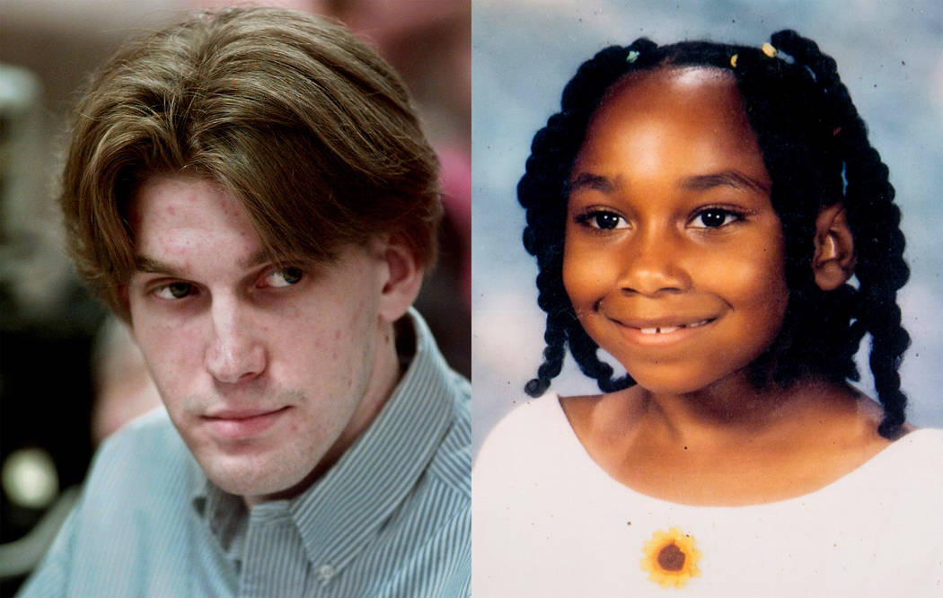 Jeremy Strohmeyer sexually assaulted and killed 7-year-old Sherrice Iverson in a Primm casino restroom on May 25, 1997. Left photo: Mark J. Terrill AP; right: photo of Sherrice admitted in evidence.