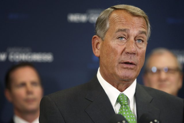 John Boehner speaks to reporters at a news conference in 2015.  (REUTERS/Jonathan Ernst)