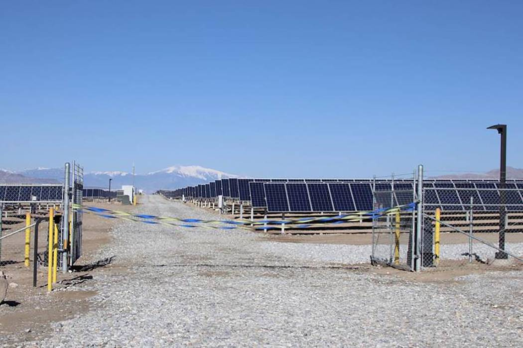 Vic Trujillo/Special to the Tonopah Times-Bonanza A look at the Luning Solar Energy Center. Liberty Utilities funded the project that created about 250 jobs during construction. The plant currentl ...