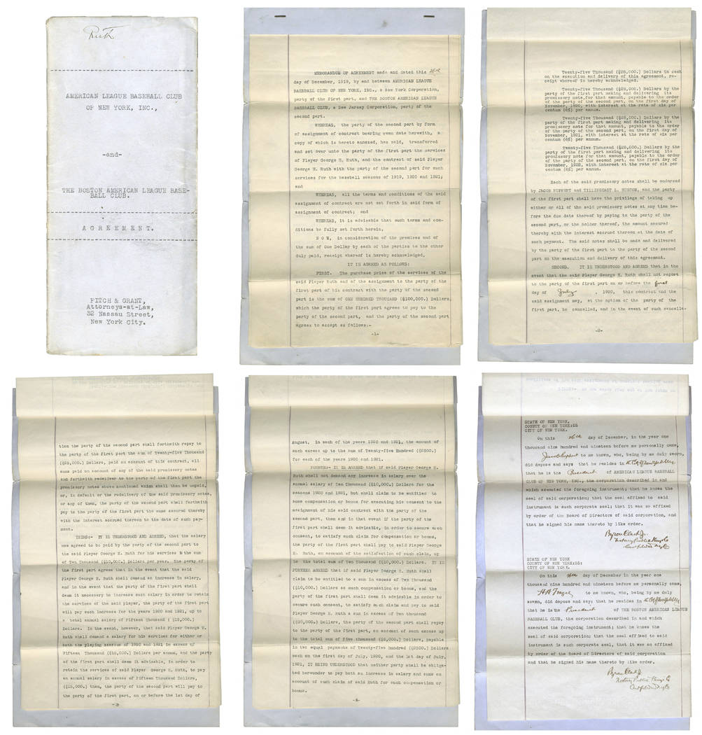 These undated images provided by Lelands.com, shows pages of the New York Yankees' copy of the 1919 agreement between the Yankees and Boston Red Sox for baseball player Babe Ruth. The 1919 sale of ...