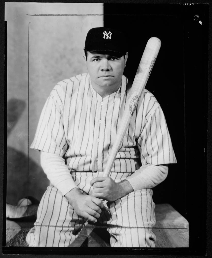 In this photo provided by the George Eastman House, a 1945 photo of Babe Ruth taken by photographer Nickolas Muray is shown. The photo was a gift to the Eastman House from Mrs. Nickolas Muray. The ...