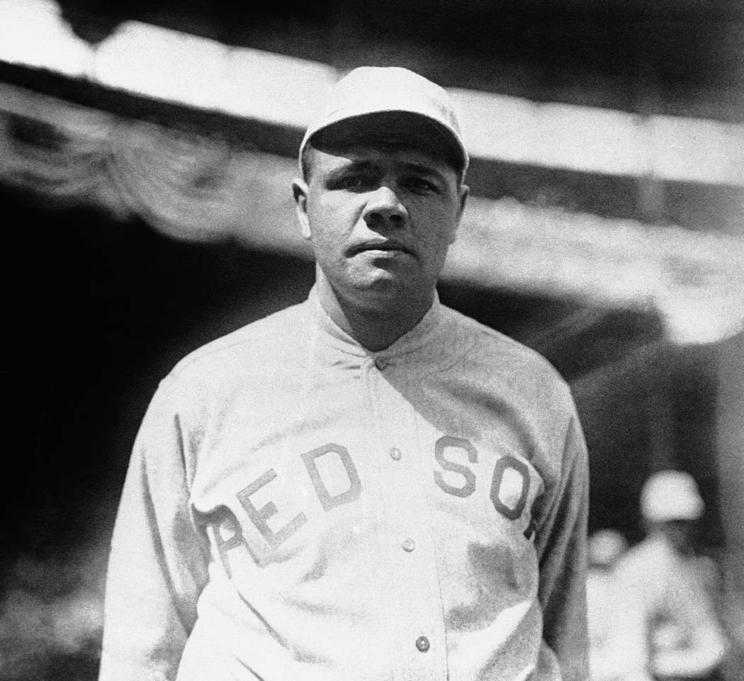 Babe Ruth is shown in a Boston Red Sox uniform in 1919. (AP Photo)