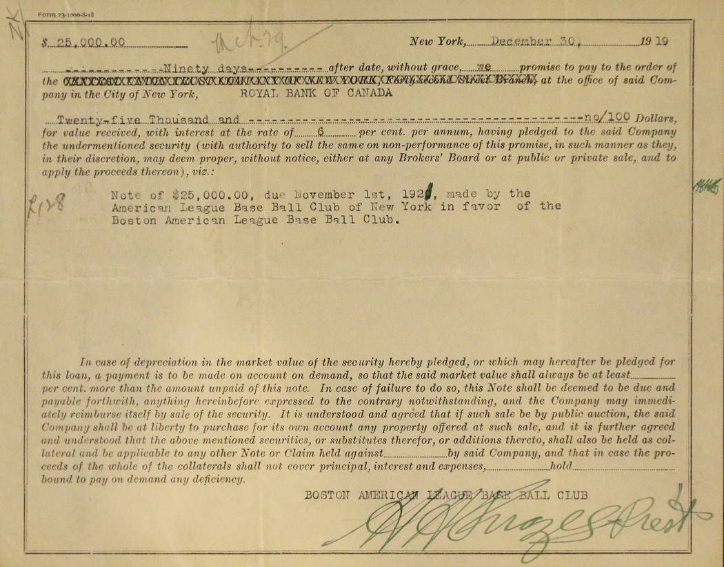 This photo shows the 1919 promissory note from the New York Yankees to the Boston Red Sox in payment for the sale of Babe Ruth, Wednesday, July 9, 2014, in Baltimore, during a media preview of spo ...