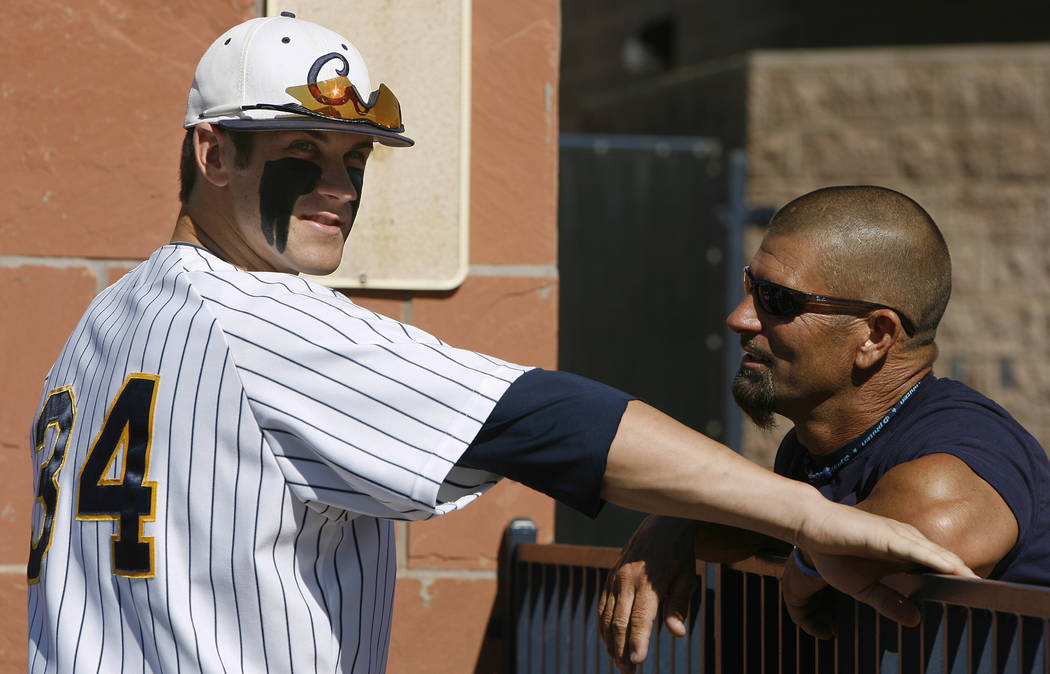In this April 30, 2010, file photo, College of Southern Nevada baseball player Bryce Harper, left, talks with his father Ron Harper during a college baseball game in Henderson, Nev.  (AP Photo/Isa ...