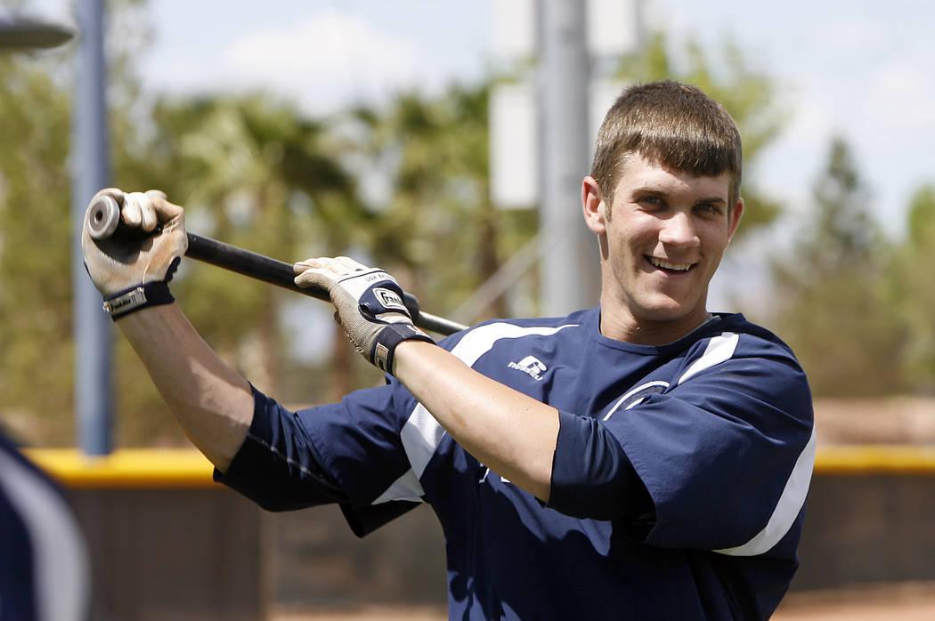College of Southern Nevada baseball player Bryce Harper warms up before a college baseball game in Henderson, Nev.  on April 30, 2010.  (AP Photo/Isaac Brekken, File)