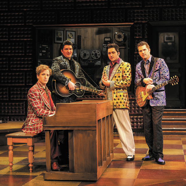 "Members of ""Million Dollar Quartet,"" from left, Martin Kaye, Ben Hale, Tyler Hunter and Rob Lyons, pose in the Harrah's Showroom at Harrah's Las Vegas on Saturday, Jan. 26, 2013. (Chase Stevens/La ..."