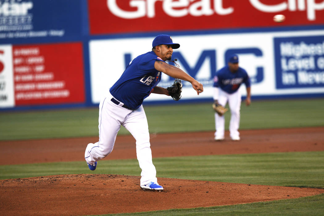 Wilfredo Boscan (41) throws against Albuquerque on Monday, May 1, 2017, at Cashman Field in Las Vegas. Rachel Aston Las Vegas Review-Journal @rookie__rae