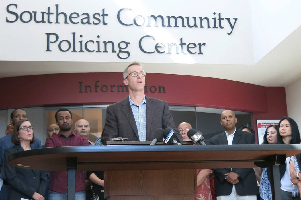 Portland Mayor Ted Wheeler speak at a news conference after a man fatally stabbed two men Friday on a light-rail train when they tried to stop him from yelling anti-Muslim slurs at two young women ...