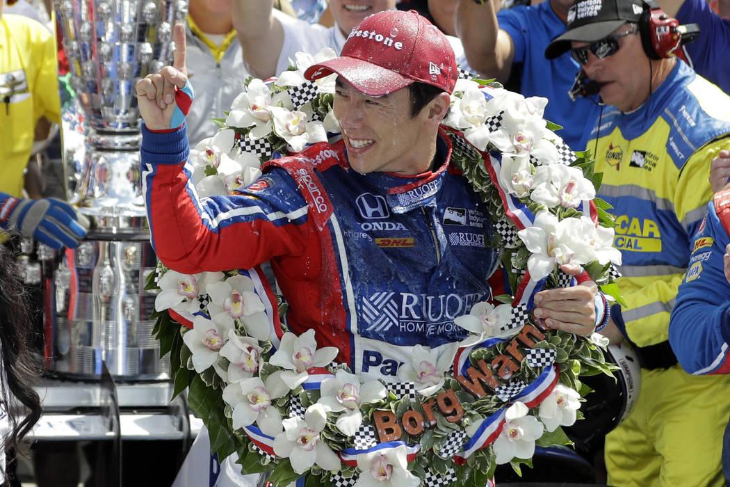 Takuma Sato, of Japan, celebrates winning the Indianapolis 500 auto race at Indianapolis Motor Speedway, Sunday, May 28, 2017 in Indianapolis. (Darron Cummings/AP)