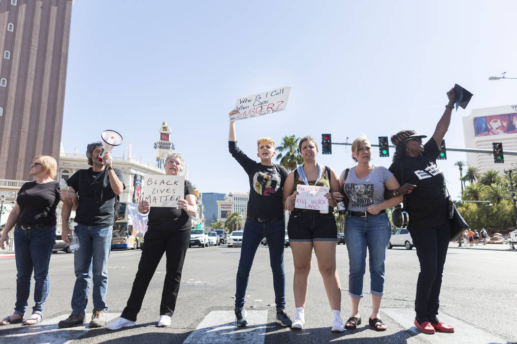 Protesters block Las Vegas Boulevard in front of The Venetian to protest the officer involved death of Tashii Brown, Las Vegas, Sunday, May 28, 2017. Elizabeth Brumley/Las Vegas Review-Journal