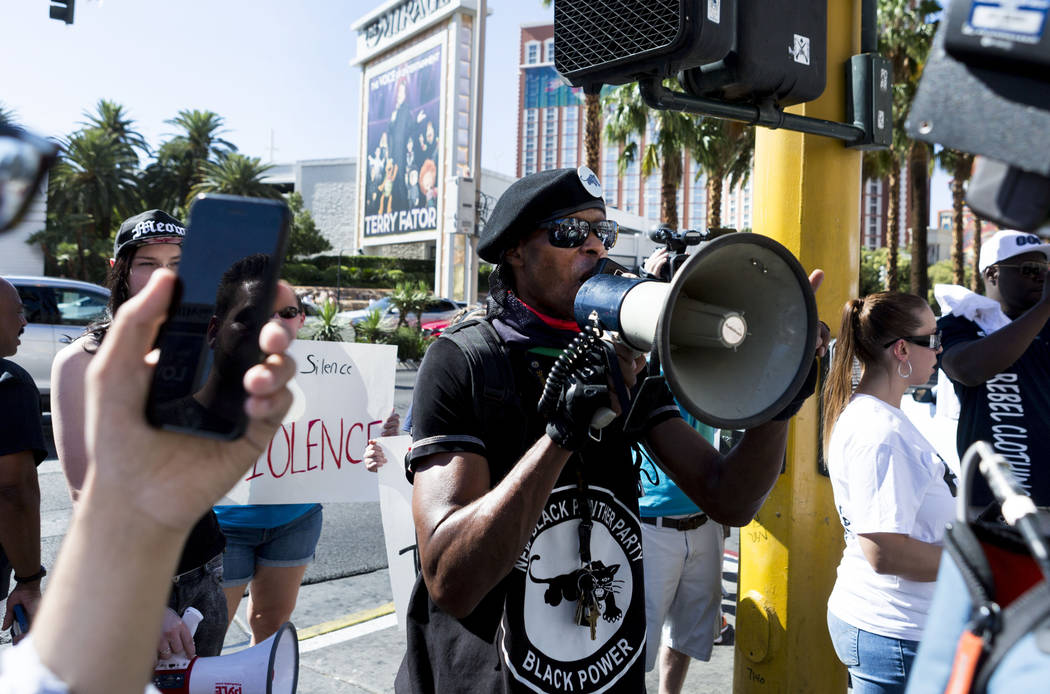 Jay Jackson with the New Black Panther Party protests in front of The Venetian on Las Vegas Boulevard in Las Vegas, Sunday,  May 28, 2017.  Elizabeth Brumley/Las Vegas Review-Journal