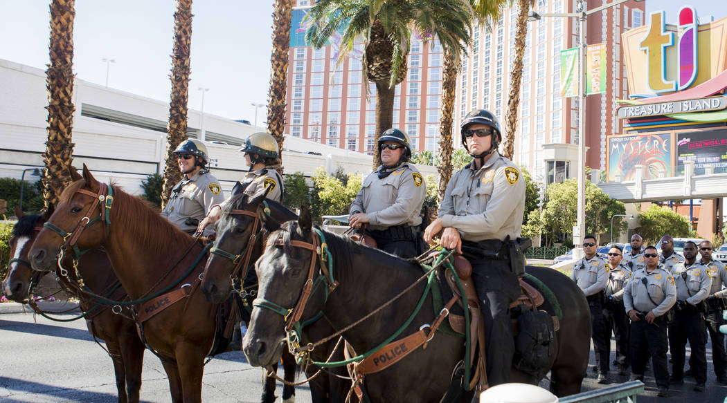 Police secure the Las Vegas Strip after protesters blocked the Las Vegas Boulevard in front of The Venetian in Las Vegas, Sunday, May 28, 2017.  Elizabeth Brumley/Las Vegas Review-Journal