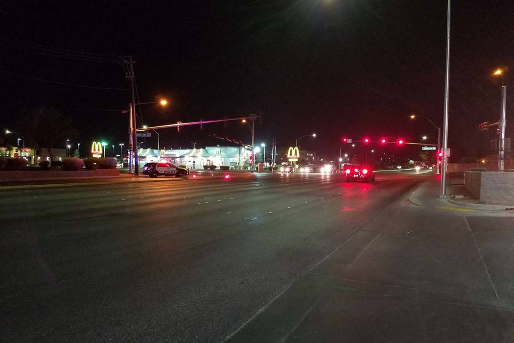 Las Vegas police are investigating a Sunday night accident where a man using a wheelchair was hit by a car about 8:30 p.m. near Martin Luther King and Lake Mead boulevards. (Mike Shoro/Las Vegas R ...