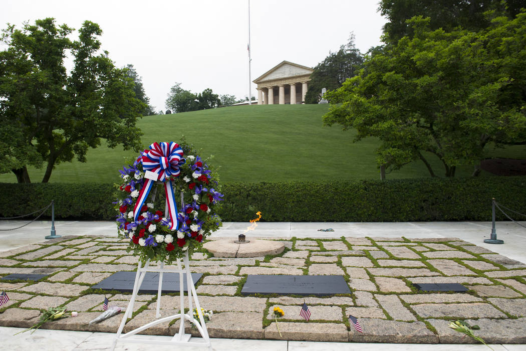A wreath is placed at the grave of former President John F. Kennedy, to mark the 100th anniversary of his birth, at Arlington National Cemetery in Arlington, Va., Monday, May 29, 2017. (Cliff Owen/AP)