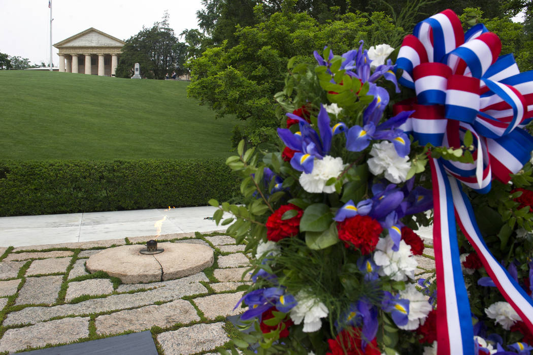 A wreath at the grave of former President John F. Kennedy, to mark the 100th anniversary of his birth, at Arlington National Cemetery in Arlington, Va., Monday, May 29, 2017. (Cliff Owen/AP)