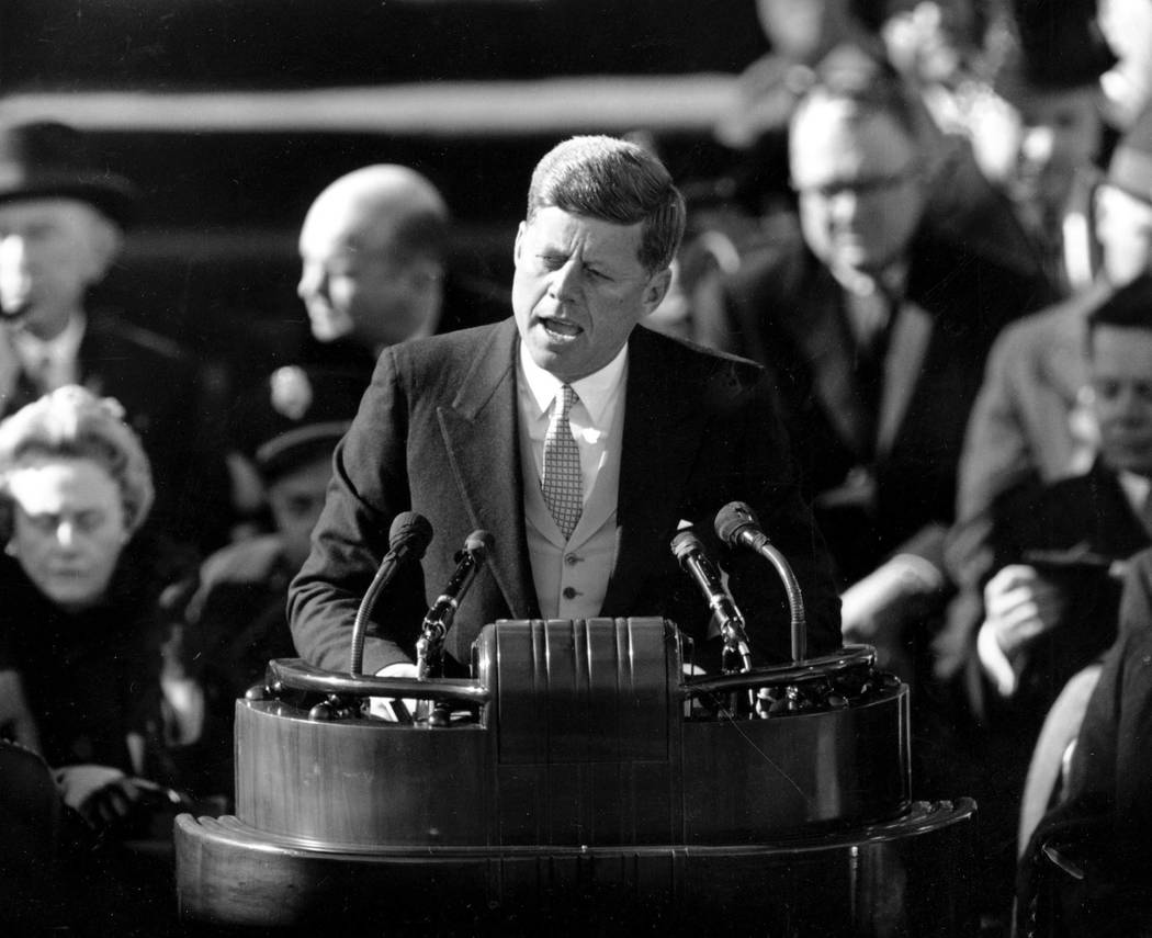 In this Jan. 20, 1961 file photo, President John F. Kennedy delivers his inaugural address after taking the oath of office on Capitol Hill in Washington. Monday, May 29, 2017 marks the 100-year an ...