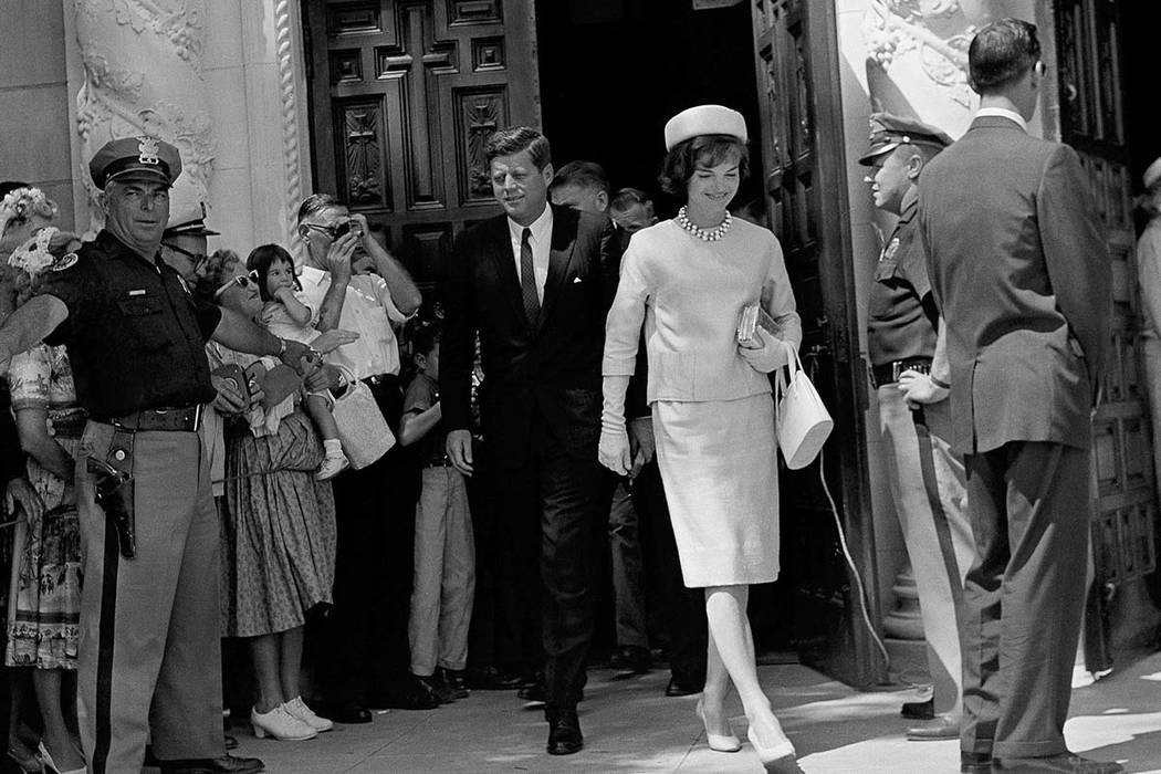 In this April 2, 1961 file photo, President John F. Kennedy and first lady Jacqueline Kennedy leave St. Edward's Catholic Church in Palm Beach, Fla., after attending Easter Sunday services. Monday ...