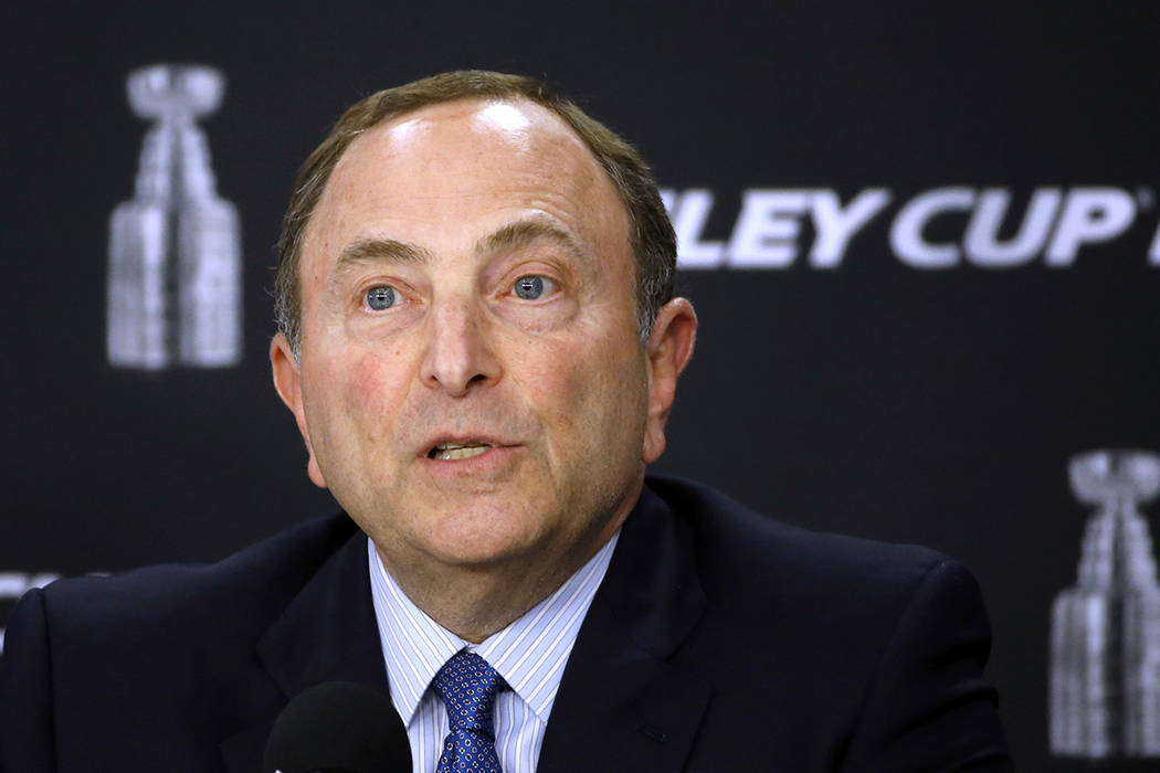 NHL Commissioner Gary Bettman speaks to the media before Game 1 of the NHL hockey Stanley Cup Finals between the Pittsburgh Penguins and the Nashville Predators, Monday, May 29, 2017, in Pittsburg ...