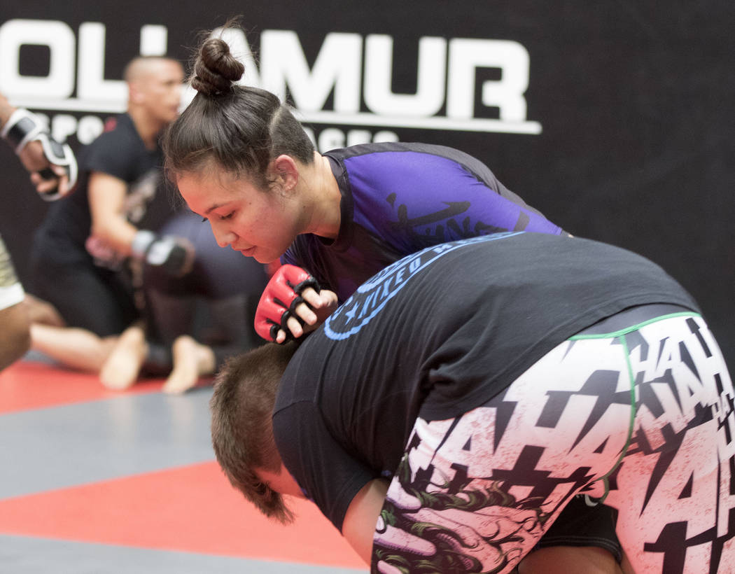 UFC strawweight Jamie Moyle trains for her UFC 212 fight and defends a takedown from Mike Jones at Syndicate MMA in Las Vegas on Wednesday, May 24, 2017. Heidi Fang/Las Vegas Review-Journal @HeidiFang