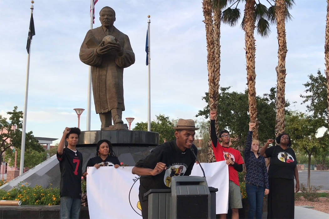 Stretch Sanders, founder and president of the activist group All Shades United, addresses media and community members at a peaceful gathering on Monday, May 29, 2017. (Blake Apgar/Las Vegas Review ...