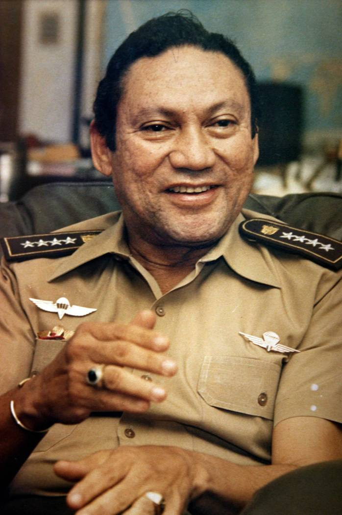 FIn this Nov. 8, 1989 file photo, Panamanian military strongman Gen. Manuel Noriega talks to reporters in Panama City. Panama's ex-dictator Noriega died Monday, May 29, 2017, in a hospital in Pana ...