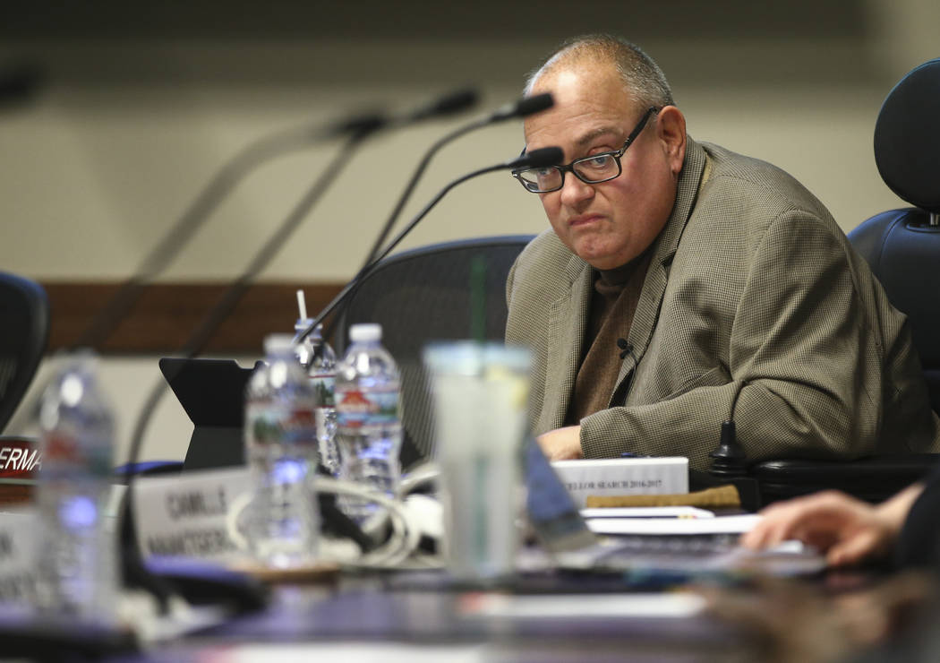Nevada System of Higher Education Regent Sam Lieberman during a chancellor search committee meeting at the NSHE administration office in Las Vegas on Wednesday, May 31, 2017. Chase Stevens Las Veg ...