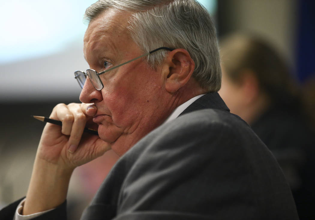 College of Southern Nevada president Michael Richards, an advisory member to chancellor search committee, during a committee meeting at the Nevada System of Higher Education administration office  ...