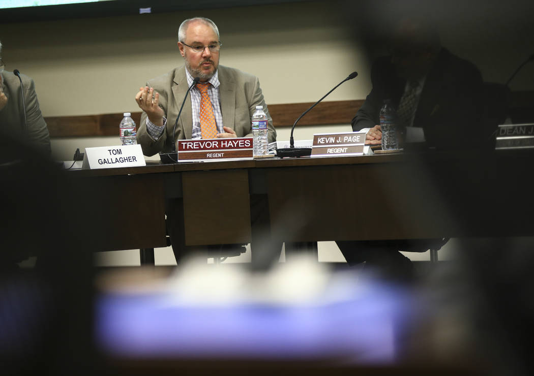 Nevada System of Higher Education Regent Trevor Hayes during a chancellor search committee meeting at the NSHE administration office in Las Vegas on Wednesday, May 31, 2017. Chase Stevens Las Vega ...
