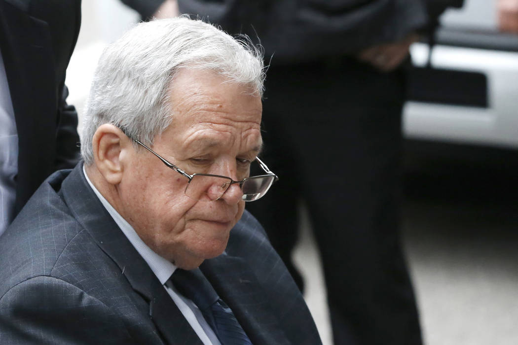 Former House Speaker Dennis Hastert departs the federal courthouse Wednesday, April 27, 2016, in Chicago. (Charles Rex Arbogast/AP)