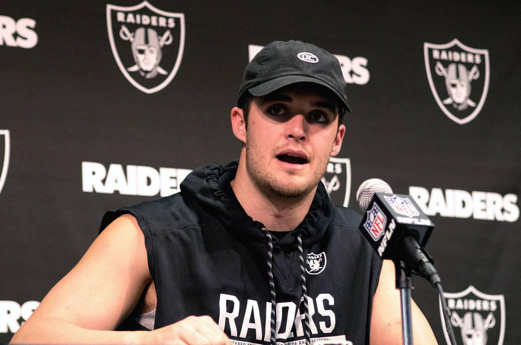 Oakland Raiders quarterback Derek Carr discusses the upcoming football season at an off-season news conference at the team facility in Alameda, Calif., on April 17, 2017. Heidi Fang/Las Vegas Revi ...
