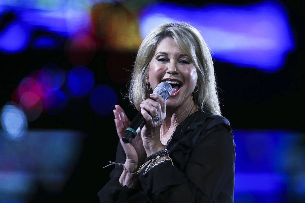 Olivia Newton John performs during the Viña del Mar International Song Festival at the Quinta Vergara in Viña del Mar, Chile, Thursday, Feb. 23, 2017. Believed to be one of the largest m ...