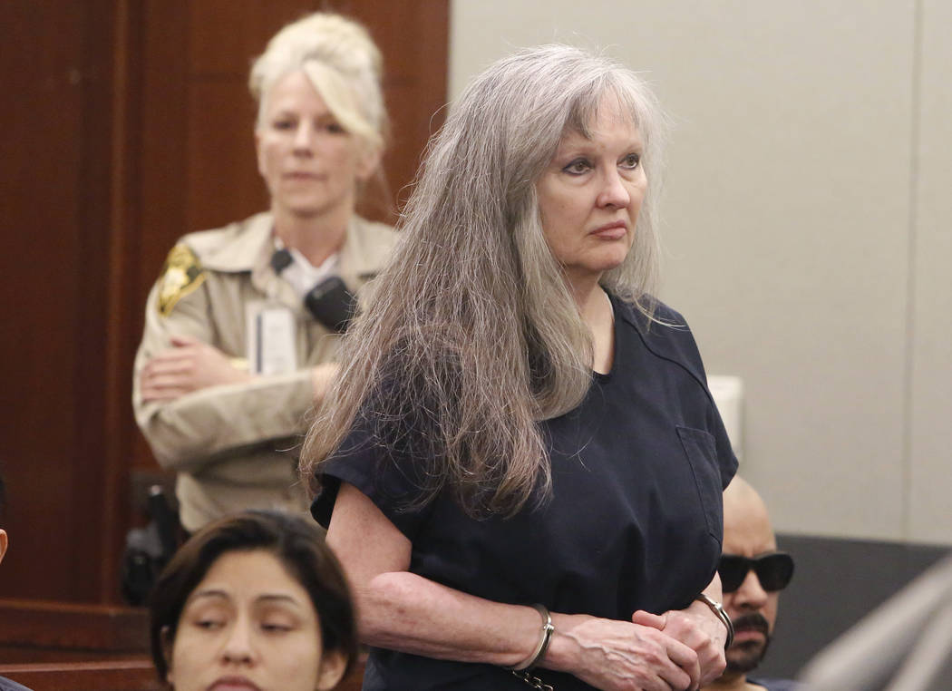 Linda Cooney appears in court at the Regional Justice Center on Wednesday, May 31, 2017, in Las Vegas. The Nevada Supreme Court has reversed Cooney's lengthy prison sentence for a shooting that le ...