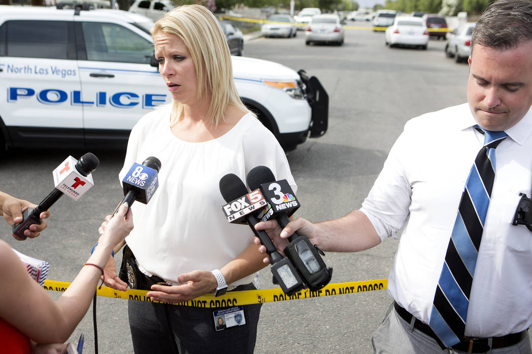 North Las Vegas Police Department public information officer Ann Cavaricci gives a statement to media at the 2800 block of Holmes on Tuesday, May 30, 2017, in North Las Vegas. One man was declared ...