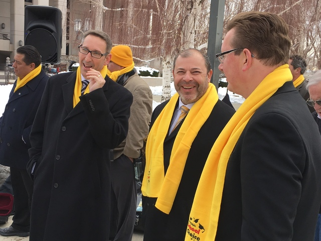From left, Nevada lawmakers Sen. Scott Hammond, Assemblyman Paul Anderson and Sen. Ben Kieckhefer, attend the school choice event in Carson City on Wednesday, Jan. 25, 2017. (Sean Whaley/Las Vegas ...