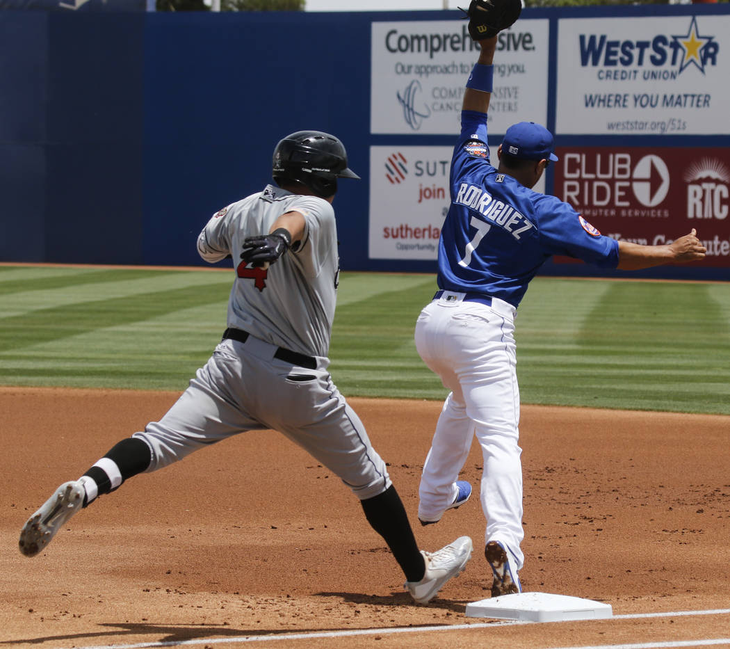Las Vegas 51s' Josh Rodriguez (7) gets out El Paso Chihuahuas' Christian Villanueva (4) at first base uring a baseball game at Cashman Field in Las Vegas on Tuesday, May 30, 2017. Chase Stevens La ...