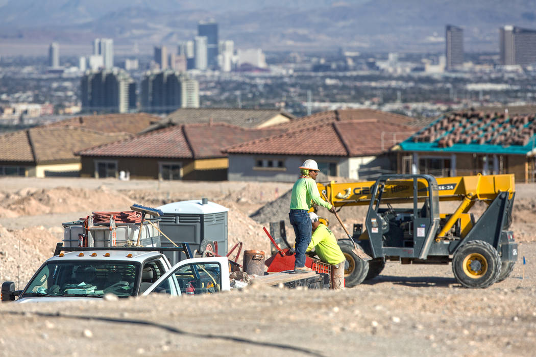 Construction workers prep the area south of The Paseos in Summerlin for new home construction on Tuesday, Feb. 28, 2017, in Las Vegas. (Benjamin Hager/Las Vegas Review-Journal) @benjaminhphoto