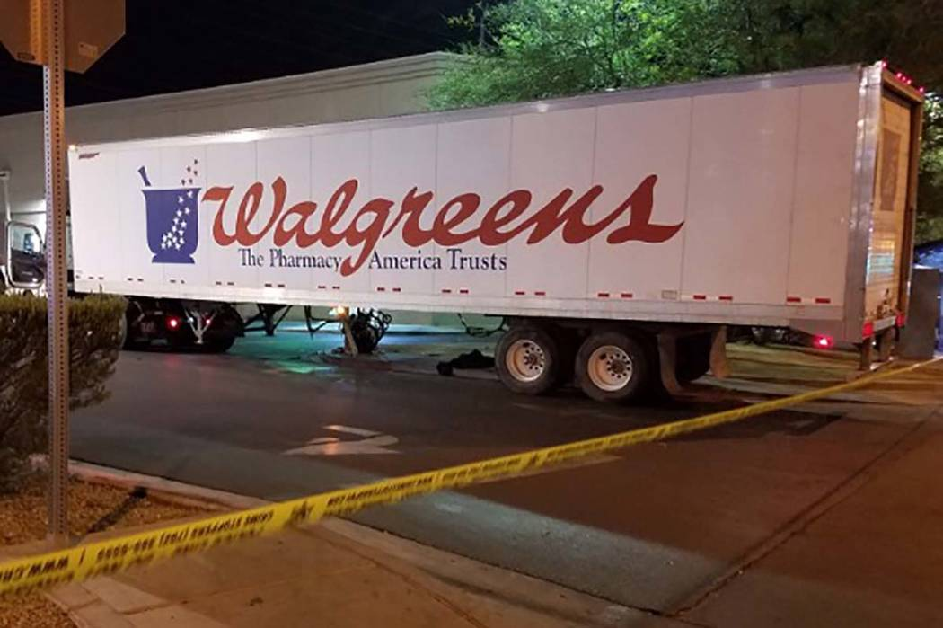 Las Vegas police are investigating a fatal accident that involved a semitrailer and a pedestrian on Tuesday night at a Walgreens at 1180 E. Flamingo Road, near Maryland Parkway. (Mike Shoro/Las Ve ...