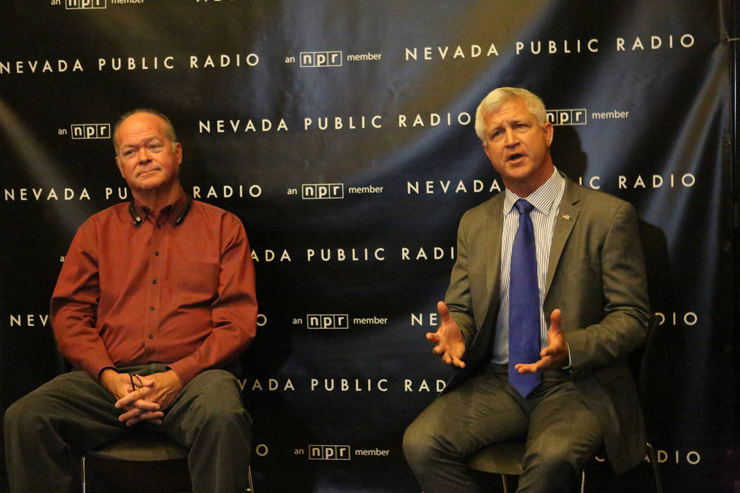Councilman Bob Beers, left, and challenger Col. Steve Seroka take questions after debate for the Las Vegas Ward 2 City Council at the studios of KNPR on Thursday, May 25, 2017. Michael Quine/Las V ...