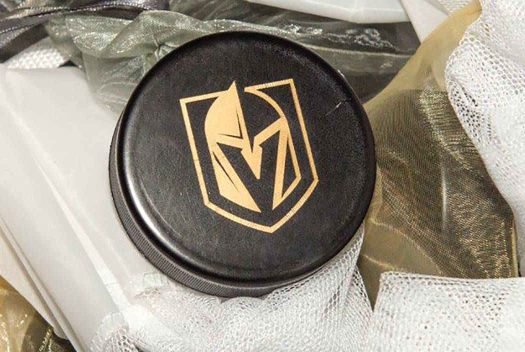 The Vegas Golden Knights team name and logo. (Tom Donoghue)