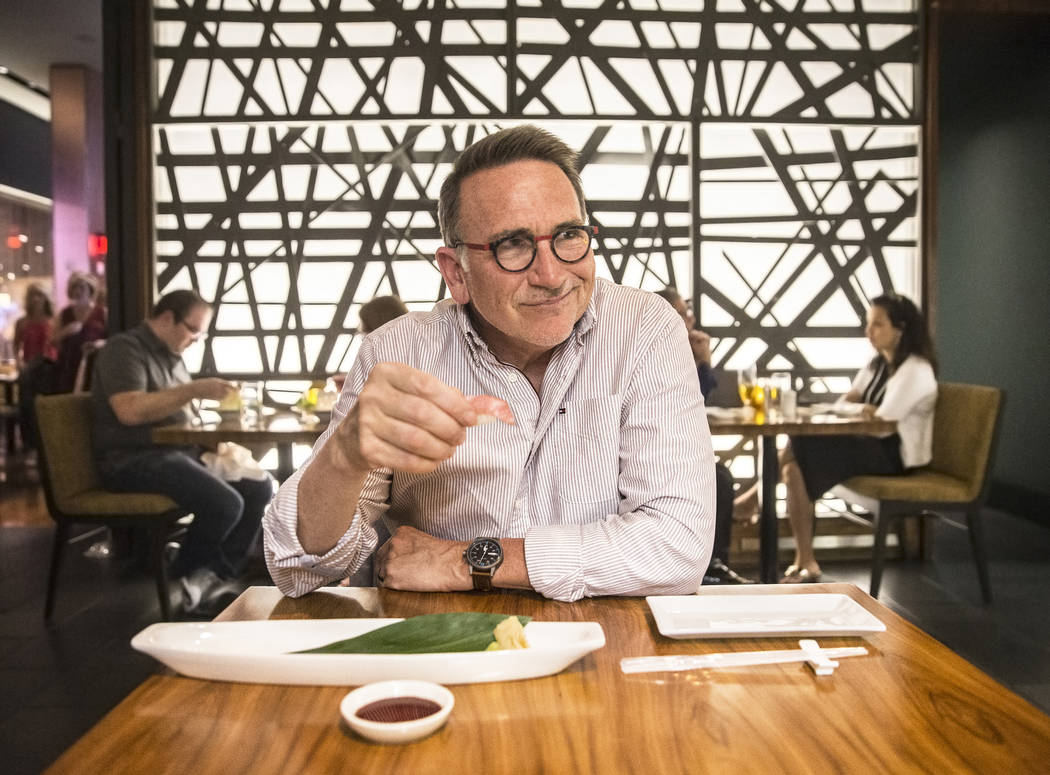 Sustainable-seafood expert Rick Moonen tries guilt-free bluefin tuna at Morimoto on Friday, April 21, 2017, at MGM Grand in Las Vegas. (Benjamin Hager/Las Vegas Review-Journal)