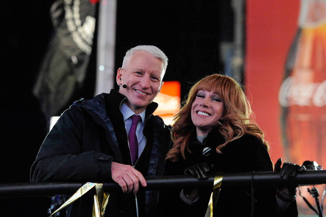 Anderson Cooper and Kathy Griffin act as hosts during the events in Times Square on New Year's Eve in New York on December 31, 2016. (Stephanie Keith/Reuters)
