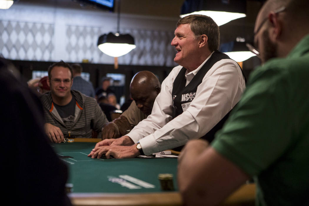 A dealer chuckles with players at his table during the opening of the World Series of Poker at the Rio Convention Center on Wednesday, May 31, 2017. Patrick Connolly Las Vegas Review-Journal @PConnPie