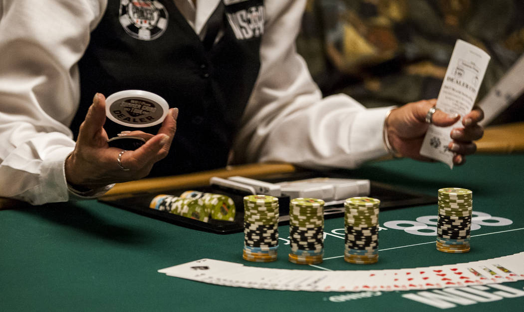 A dealer prepares chips and cards at a table during the opening of the World Series of Poker at the Rio Convention Center on Wednesday, May 31, 2017. Patrick Connolly Las Vegas Review-Journal @PCo ...