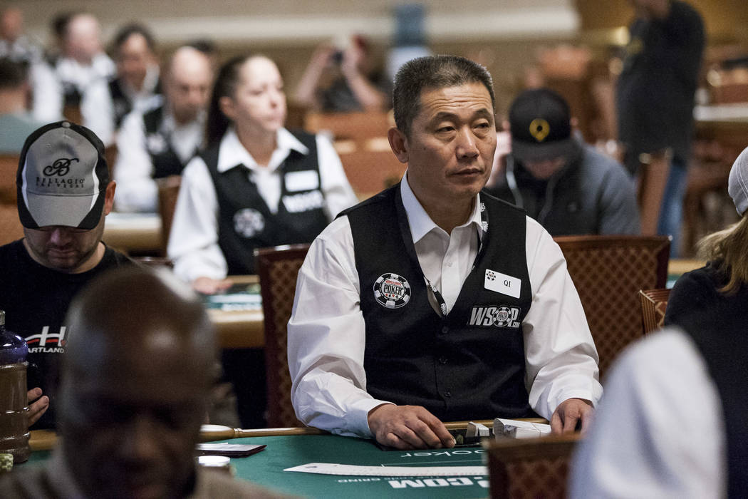 A dealer named Qi waits as players arrive during the opening of the World Series of Poker at the Rio Convention Center on Wednesday, May 31, 2017. Patrick Connolly Las Vegas Review-Journal @PConnPie