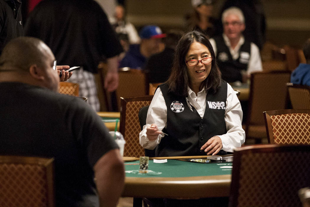 A dealer prepares her table as players start to arrive during the opening of the World Series of Poker at the Rio Convention Center on Wednesday, May 31, 2017. Patrick Connolly Las Vegas Review-Jo ...