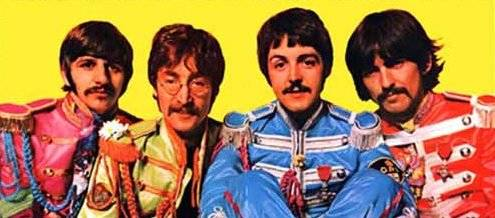 """The centerfold of the 1967 Beatles album """"Sgt. Pepper's Lonely Hearts Club Band"""" features the Fab Four in costume as an Edwardian-era military band. Ringo Starr, left. John Lennon, Paul McCartney  ..."""